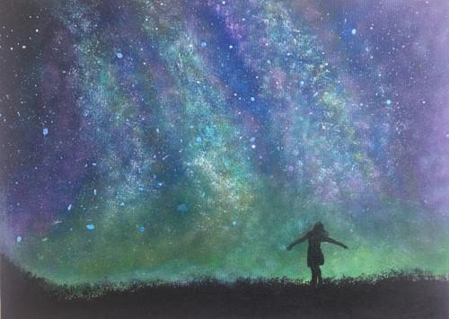sky skies, galaxy, galaxies, universe, celestial, astronomy, space, northern lights, north pole, stars, starry night, vast, aurora borealis,Celestial Embrace,ART_2511_18733,Artist : Shivangi Khandelwal,Acrylic