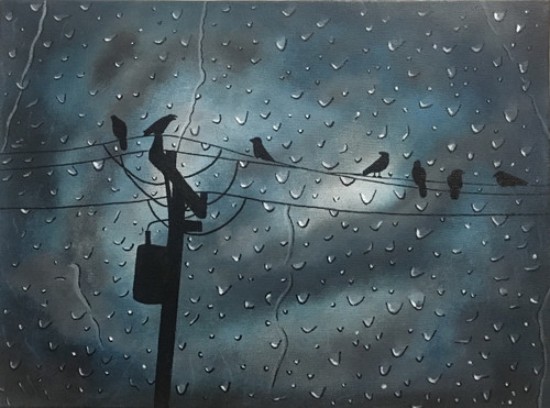 petrichor, cloudy, cloudy night, rainy day, rainy night, birds, rain, water, drops, window glass, nature, dark sky,Petrichor - The smell of rain,ART_2511_18731,Artist : Shivangi Khandelwal,Acrylic