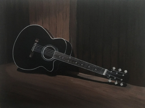 guitar, music, strings, acrylic, wrapped canvas, acoustic, music instrument,Acoustic,ART_2511_18724,Artist : Shivangi Khandelwal,Acrylic