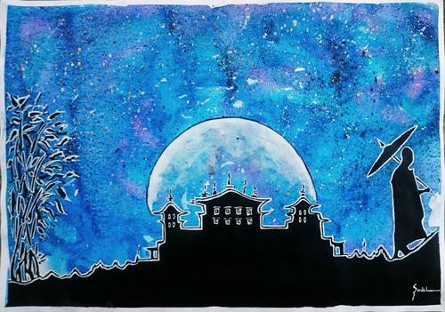 mendicant monk, palace, starry night, silhouette,Starry Night - The palace and the Mendicant Monk.,ART_2460_18571,Artist : Sudhir Mishra,Mixed Media