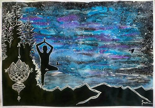 silhouette, StarryNight, traveler, yoga,Yogic in Starry Night.,ART_2460_18569,Artist : Sudhir Mishra,Mixed Media