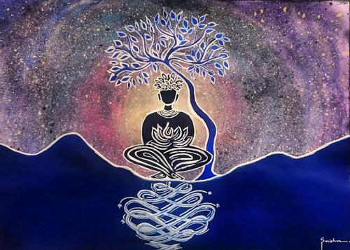 starry night, meditation, silhouette, Nirvana,Meditating In Starry Night,ART_2460_18568,Artist : Sudhir Mishra,Mixed Media