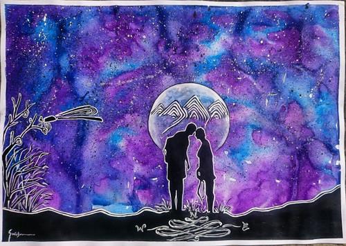 silhouette, StarryNight, traveler,Travellers in One Starry Night.,ART_2460_18565,Artist : Sudhir Mishra,Mixed Media