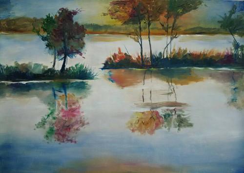 Beautiful Painting, scenery, nature, mountains ,Nature of plants,ART_2538_18807,Artist : Poonam Art,Oil