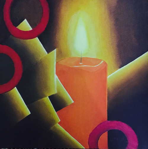 Candle, Light, Peace, Hope, Illimination, Light at the end of the tunnel, Brightness, Motivational,Illumination,ART_767_18399,Artist : Uzma Khan,Oil