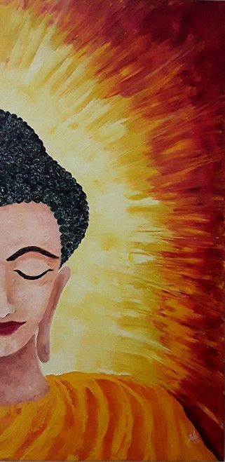 Buddha , Meditation , face , eyes , lips , hairs , aura , yellow , orange , red ,black ,buddha face, face ,The Buddha,ART_1000_18860,Artist : Shilpi Patel,Oil