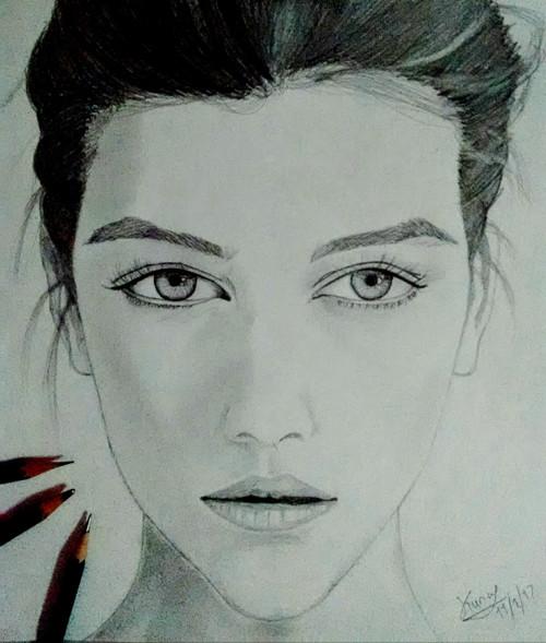 portraits,PORTRAIT OF GIRL,ART_2554_18866,Artist : Kunal Sharma,Graphite