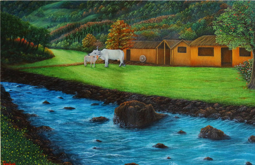 Nature, Motherhood, Mother's love, Forest, Greenery, rocky river, landscape, rocks, cow and calf, light and shadow, farm house, village life, hills and mountain, oil painting,The Unconditonal love of Mother & Nature,ART_976_16584,Artist : Goutami Mishra,Oil