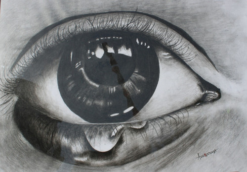 love sorrow rage eye eyes peace charcoal landscape,THE EYE OF SORROW,ART_2318_18898,Artist : Amritpal Singh,Charcoal