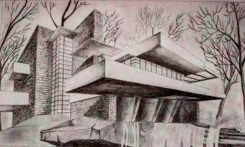 black and white,falling water house,ART_2554_18867,Artist : Kunal Sharma,Charcoal