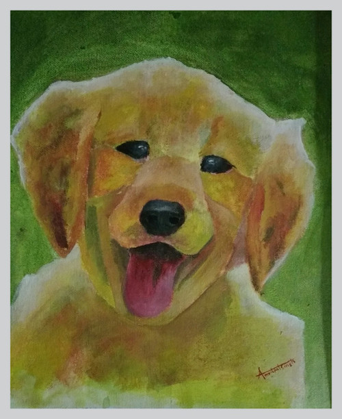 dog cat companion partner animals animal cute puppy wild acrylic oil canvas painting,MY PARTNER -DOG,ART_2318_18930,Artist : Amritpal Singh,Acrylic