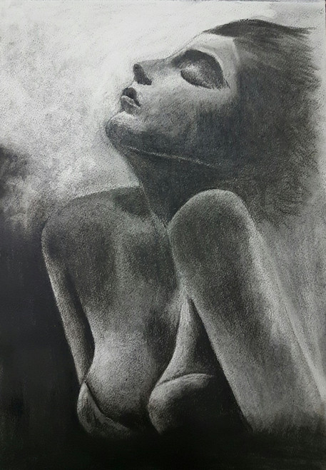 nude erotic sexy girl romance love lady half charcoal painting paper my lady,MY LADY,ART_2318_18929,Artist : Amritpal Singh,Charcoal