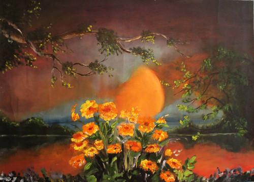 SUNRISE , SUNSET, FLOWER , LEAF , MORNING, DEEP, YELLOW,SUNRISE,ART_2538_18919,Artist : Poonam Art,Oil