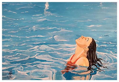 Girl in Water, Lovely Girl,Girl in Swiming Pool,ART_168_18915,Artist : Subhash Gijare,Acrylic