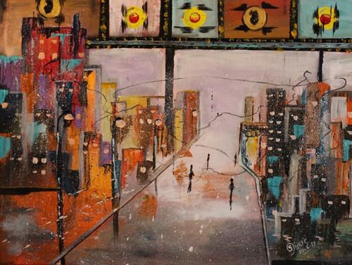 Cityscape,Abstarct -Ciryscape,ART_168_18914,Artist : Subhash Gijare,Oil