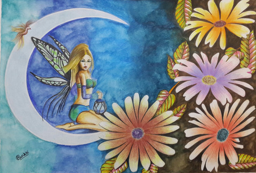 fantasy, woman, flowers,A beautiful woman as fairy with a lantern sitting on a crescent moon,ART_2525_18886,Artist : PANKTI JAIN,Pencil