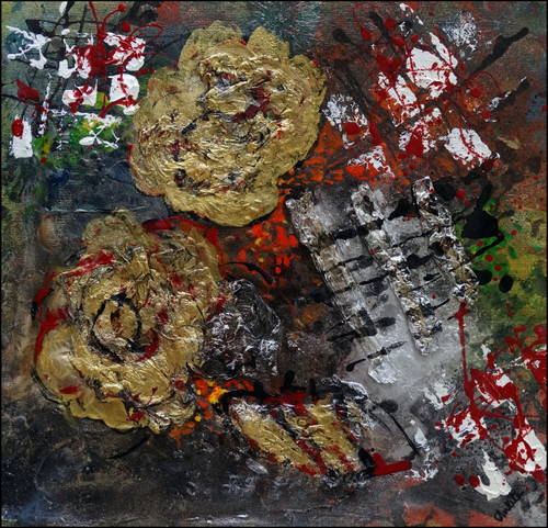 abstract,golden roses,ART_2580_18992,Artist : Ankita Goenka,Mixed Media