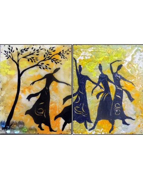 dancing, glass painting,the dancing qudra,ART_2580_18968,Artist : Ankita Goenka,Mixed Media