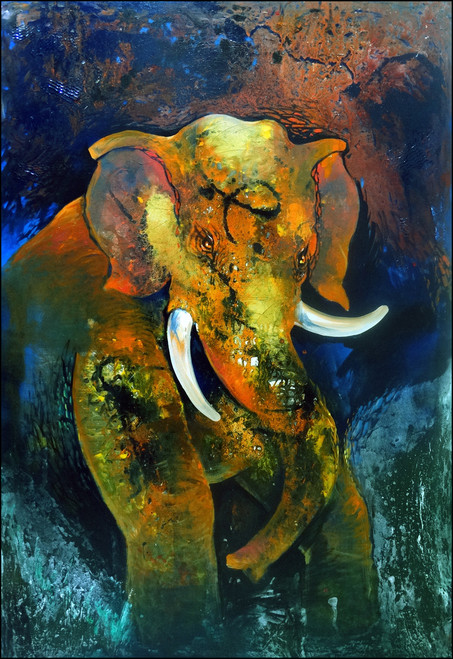 elephant, nature, forest, strength,the tusker,ART_2580_18964,Artist : Ankita Goenka,Mixed Media