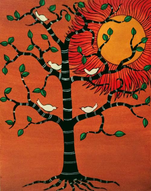 tree,sun,contemporary,folk,Tree of life,ART_571_19081,Artist : Madhavi Sandur,Acrylic
