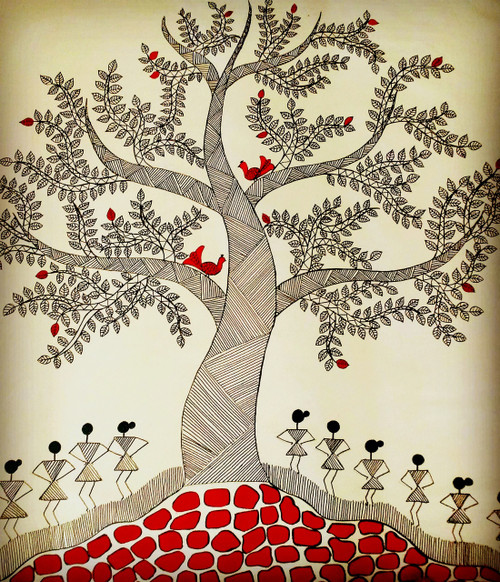 warli,folk,tree,Tree of life,ART_571_19076,Artist : Madhavi Sandur,Acrylic