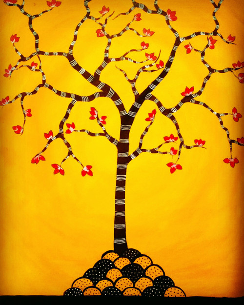 tree,folk,contemporary,orange,brown,sunset,Tree of life,ART_571_19075,Artist : Madhavi Sandur,Acrylic