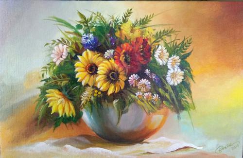 flowers,basket,abstract,flower basket,ART_2562_19103,Artist : Jay Bhagatwala,Acrylic
