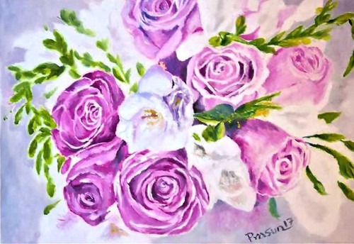 roses, flowers, pink, red, floral,Bunch of Roses,ART_2629_19222,Artist : PRASUN ROY CHOUDHURY,Oil