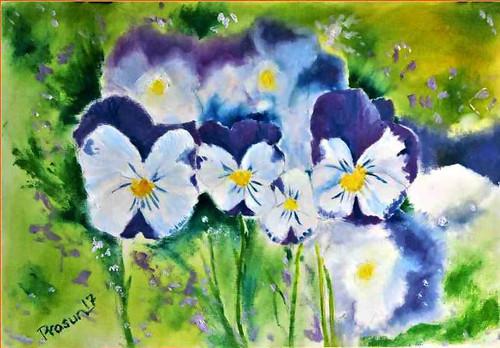 flowers, pansy, violet, ,Pansies - Handmade Flower Painting - Oil on Canvas Paper,ART_2629_19221,Artist : PRASUN ROY CHOUDHURY,Oil