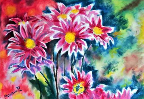 Flowers, Dahlias, floral, pink, red,Bunch of Dahlias,ART_2629_19220,Artist : PRASUN ROY CHOUDHURY,Oil