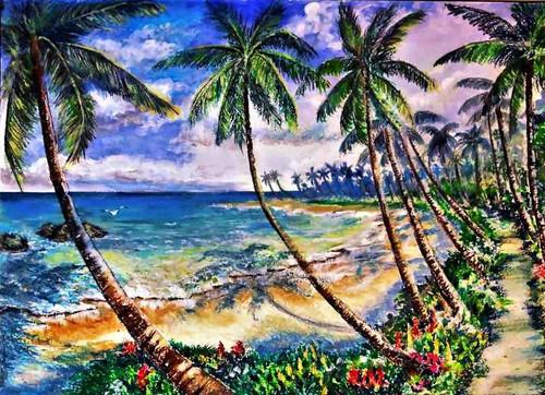 sea beach, sea, coconut trees, sand,Sea Beach with Coconut Trees,ART_2629_19219,Artist : PRASUN ROY CHOUDHURY,Pastels