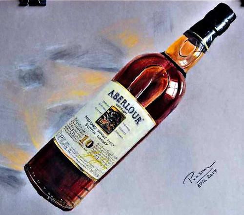 Scotch, Whiskey, Wine, Drinks, Bottle, Bar,Aberlour Bottle,ART_2629_19230,Artist : PRASUN ROY CHOUDHURY,Acrylic