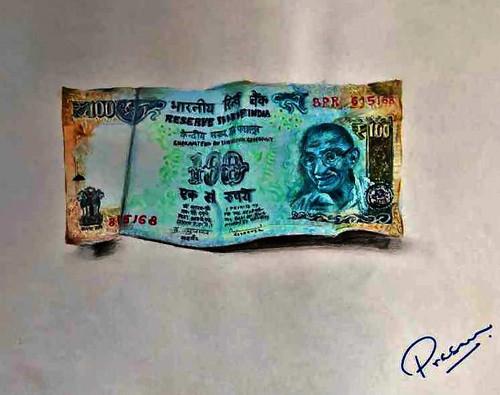 currency, note, money, cash,100 Rupee Note,ART_2629_19229,Artist : PRASUN ROY CHOUDHURY,Acrylic