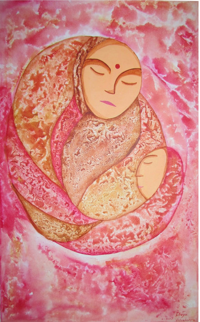 mother , child ,Mother and child's love,ART_2333_18208,Artist : Divya Vishvakarma,Acrylic