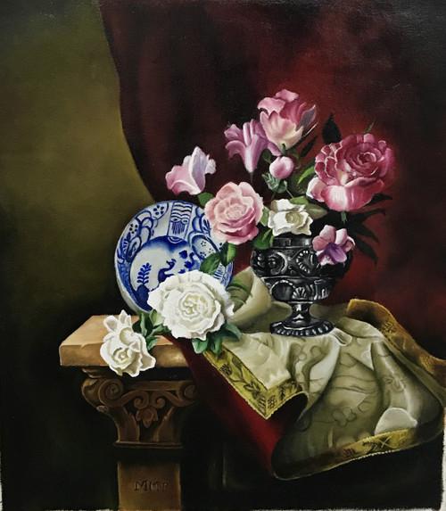 flowers,pots,realism,living room, ,Still life -REALISM FLOWERS ,ART_1288_19294,Artist : Manini Soni,Oil