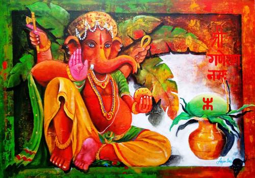 #ganesha#acrylic#painting#canvas,ganesha ,ART_82_19266,Artist : Arjun Das,Acrylic