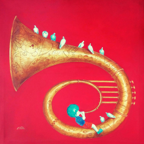 lovehappiness, childhood, memories, innocence, canvas,affordable artwork, indian art,conceptual, treasure, colorful, red,blue, green, nature, clouds,sky,,joy ,Memories of the childhood xi,ART_805_19345,Artist : Shiv kumar Soni,Acrylic