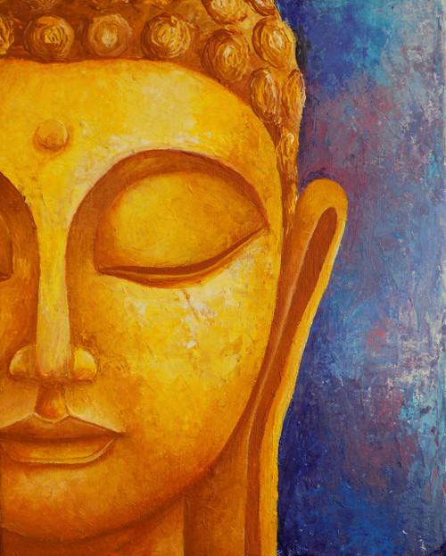 Buddha, Buddha face, Meditation, Peace, Black n white, Acrylic,ABSTRACTION OF BUDDHA,ART_1323_17906,Artist : Debaditya  Sarkar,Acrylic