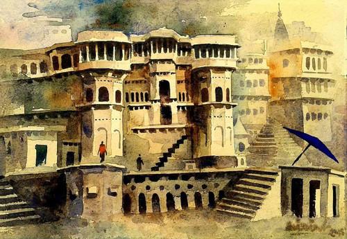 landscape,Old Architecture Varanasi Ghat,ART_1313_14604,Artist : GIRISH CHANDRA VIDYARATNA,Water Colors