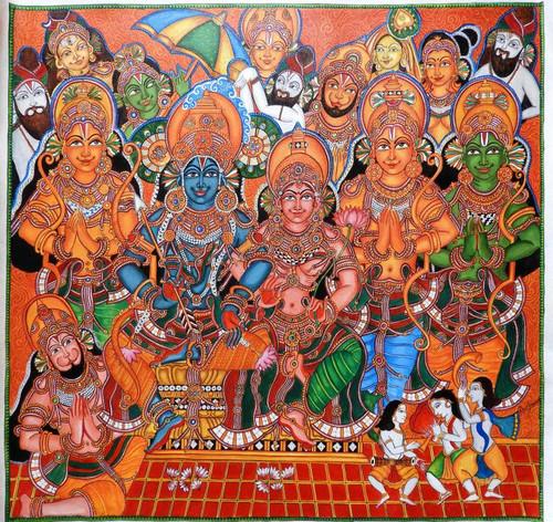 Srirama,Kerala Mural ShriRama Pattabhishekam,ART_2662_19350,Artist : Devi J,Acrylic