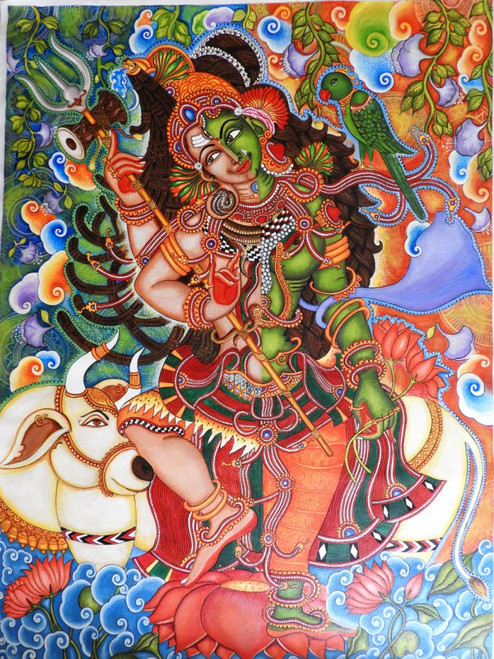 Kerala Mural painting,Kerala Mural Ardhanareshwara,ART_2662_19347,Artist : Devi J,Acrylic
