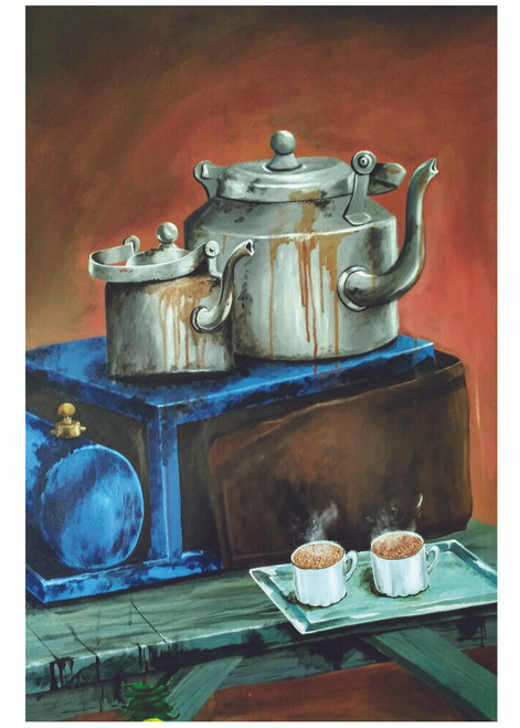 still life, contemporary, realistic, hyperrealistic, coffee paintings, tea stall , daily life, ,HOT COUPLE,ART_2689_19413,Artist : Ch Divya,Acrylic