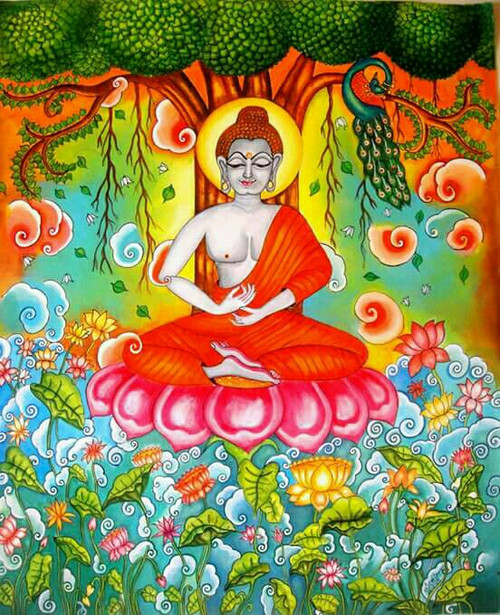 ,Kerala Mural Meditating Buddha,ART_2662_19352,Artist : Devi J,Acrylic