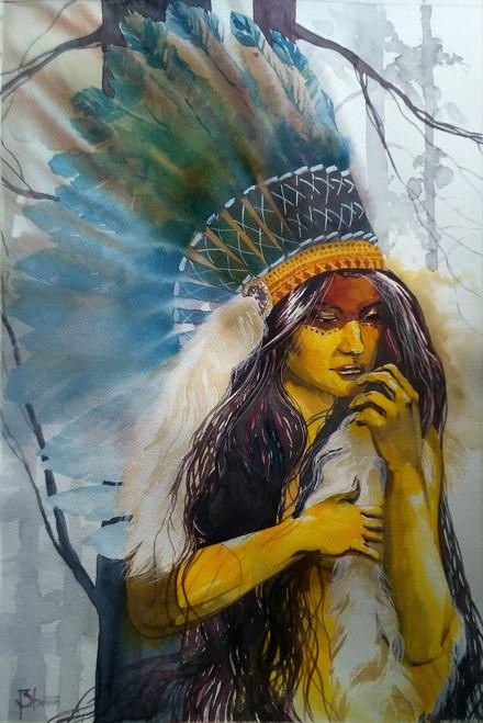 girl ,Squaw3,ART_558_19470,Artist : BHAVIN MEHTA,Water Colors