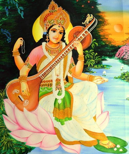 devi, saraswati, maa,Maa Saraswati - Handpainted Art Painting - 22in X 30in,ART_2702_19467,Artist : ASHISH AMRITA VERMA,Acrylic