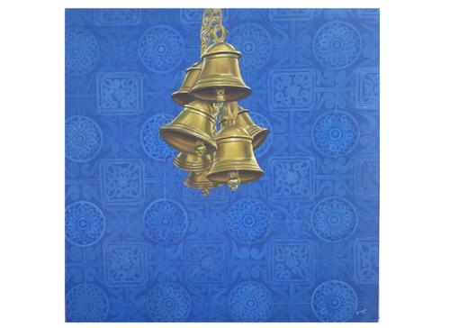 devotional, bells, temple bells, contemporary, still life, peace,god paintings, acrylic paintings, canvas paintings, modern paintings,CELESTIAL BELLS,ART_2689_19412,Artist : Ch Divya,Acrylic