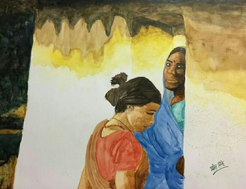 ,Chittarangi-Intazar,ART_2047_19600,Artist : Prashant Singh,Water Colors