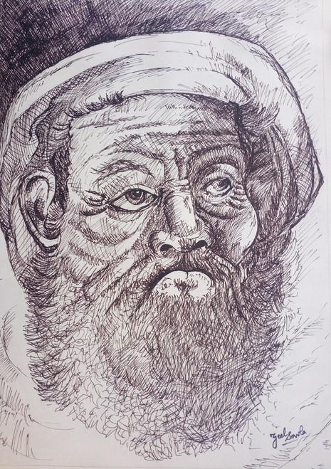Black and White, Black, White, Pencil, Sketch, Painting, Beauty, Beautiful, Scenic, Pretty, Man, Beard, Heavy,Heavy Beard,ART_2709_19583,Artist : Zeel Savla,Markers