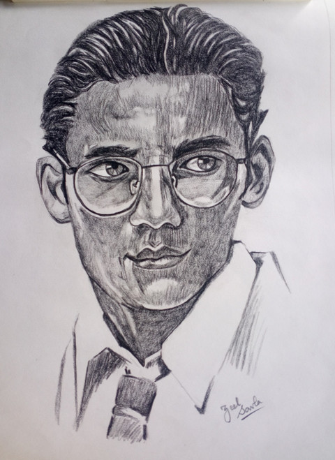 Black and White, Black, White, Pencil, Sketch, Painting, Beauty, Beautiful, Scenic, Pretty, MAn, Glasses,One With Glasses,ART_2709_19582,Artist : Zeel Savla,Charcoal