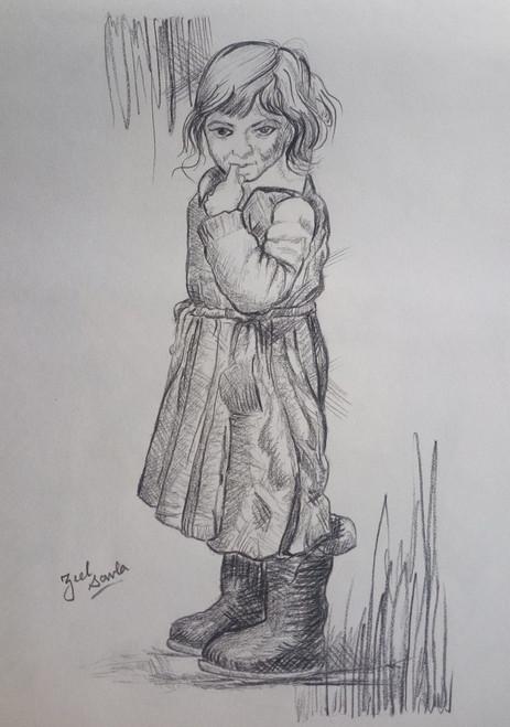 Black and White, Black, White, Pencil, Sketch, Painting, Beauty, Beautiful, Scenic, Pretty, Girl, Boots, Rains, Standing, Innocent, Clueless,INNOCENCE,ART_2709_19576,Artist : Zeel Savla,Charcoal